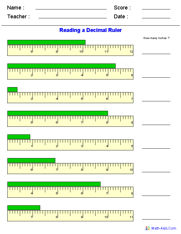 Printables Reading A Ruler Worksheet measurement worksheets dynamically created reading a decimal ruler worksheets