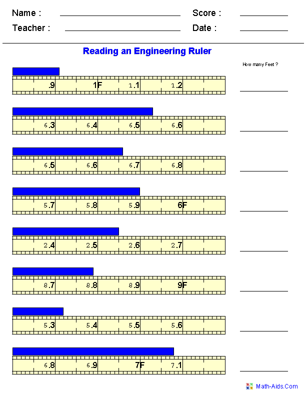 Reading Engineering Measurements Worksheets