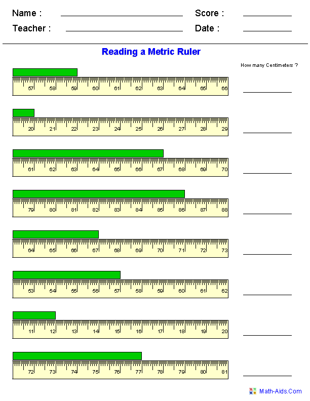 Printables How To Read A Ruler Worksheet measurement worksheets dynamically created reading a metric ruler worksheets