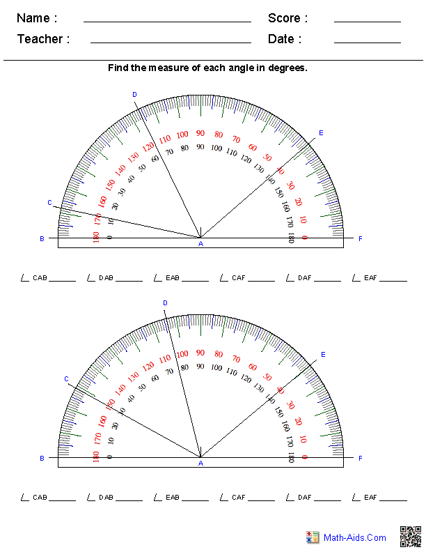 Printables Measuring Angles Worksheet Answers geometry worksheets angles for practice and study reading a protractor worksheets