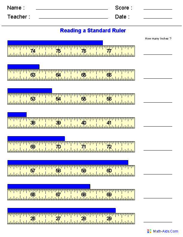 Printables Reading A Ruler Worksheet measurement worksheets dynamically created reading standard measurements worksheets