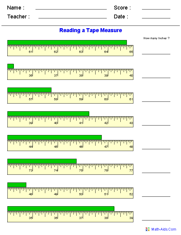 Printables Reading A Tape Measure Worksheet measurement worksheets dynamically created reading a tape measure worksheets