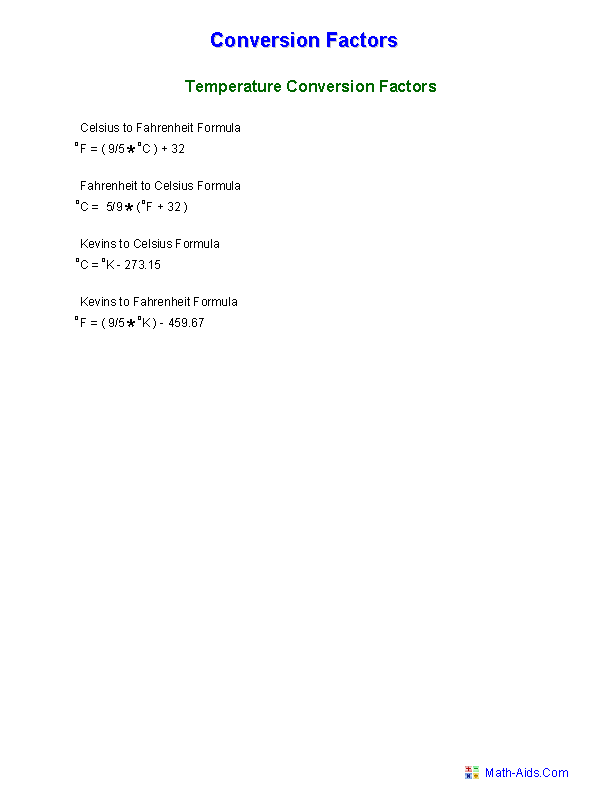 Measurement Worksheets – Temperature Conversions Worksheet
