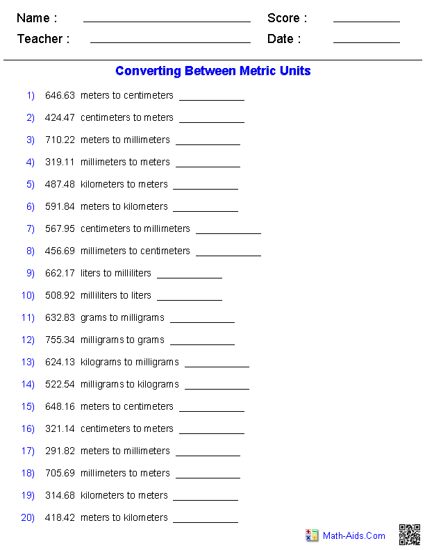 Metric Conversion Quiz Worksheets