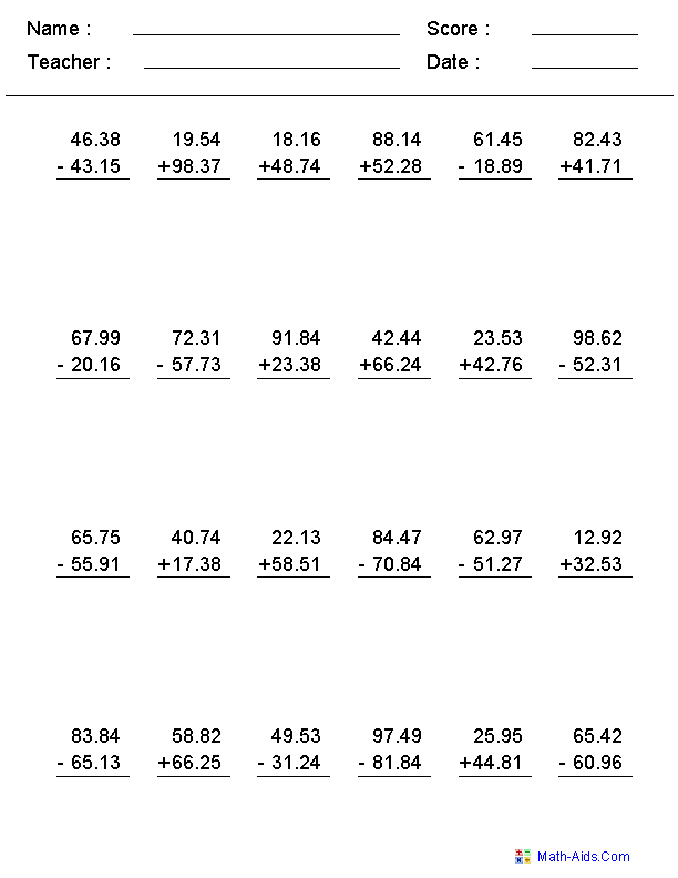 {Decimals Worksheets – Adding and Subtracting Decimals Worksheets