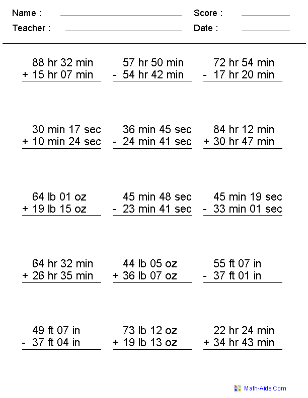 Mixed Problems Worksheets – Maths Worksheets on Time