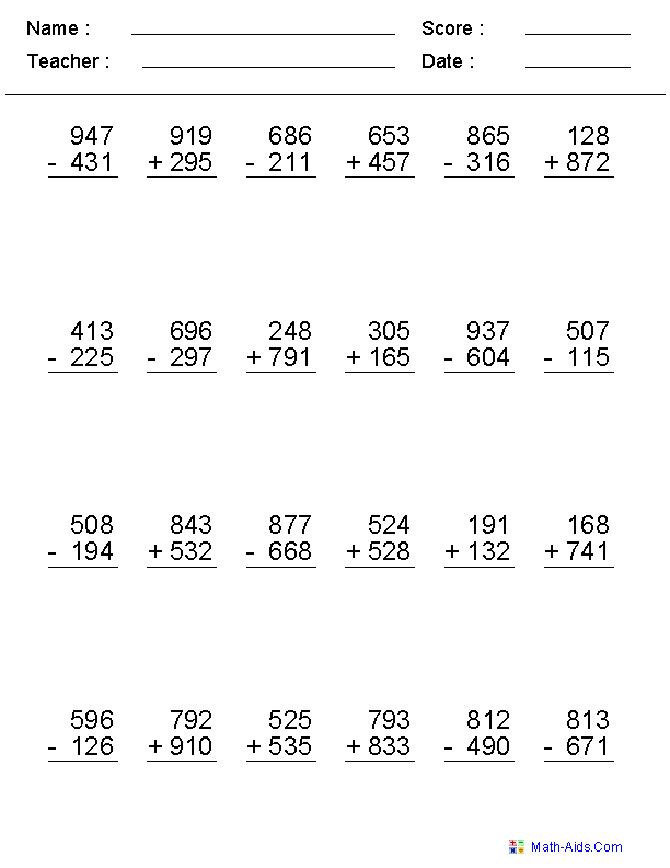 2, 3, or 4 Digits Mixed Operator Worksheets