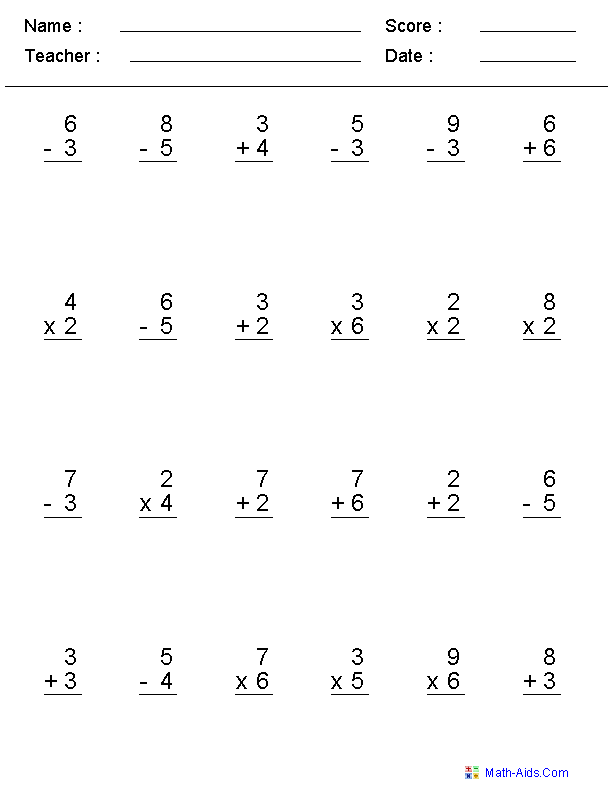 Worksheet Addition Worksheets For 3rd Grade mixed problems worksheets for practice single digit operator worksheets