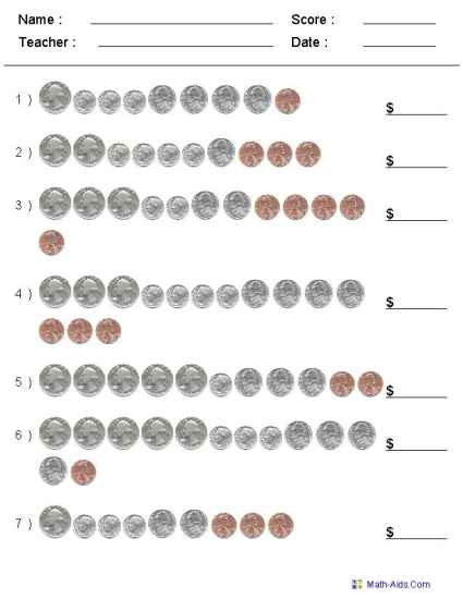 Counting US Coins Worksheets