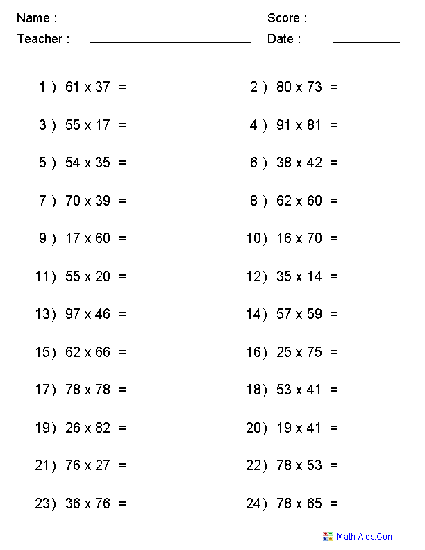 Single or Multiple Digit Multiplication Worksheets