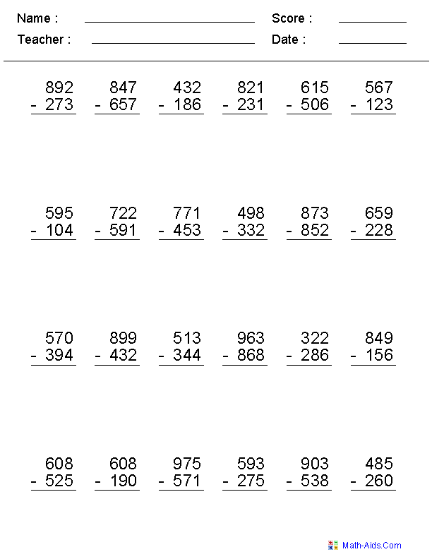 2, 3, or 4 Digits Subtraction Worksheets