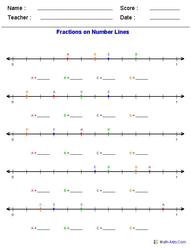 Number Line Worksheets – Comparing Fractions on a Number Line Worksheet