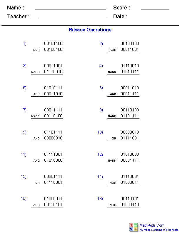 Bitwise Operations Worksheets