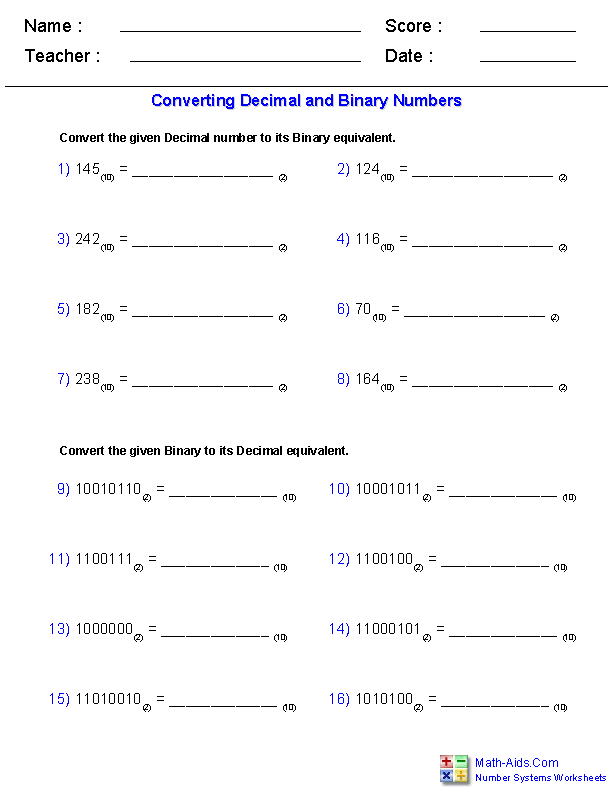 Math Worksheets – High School Math Printable Worksheets