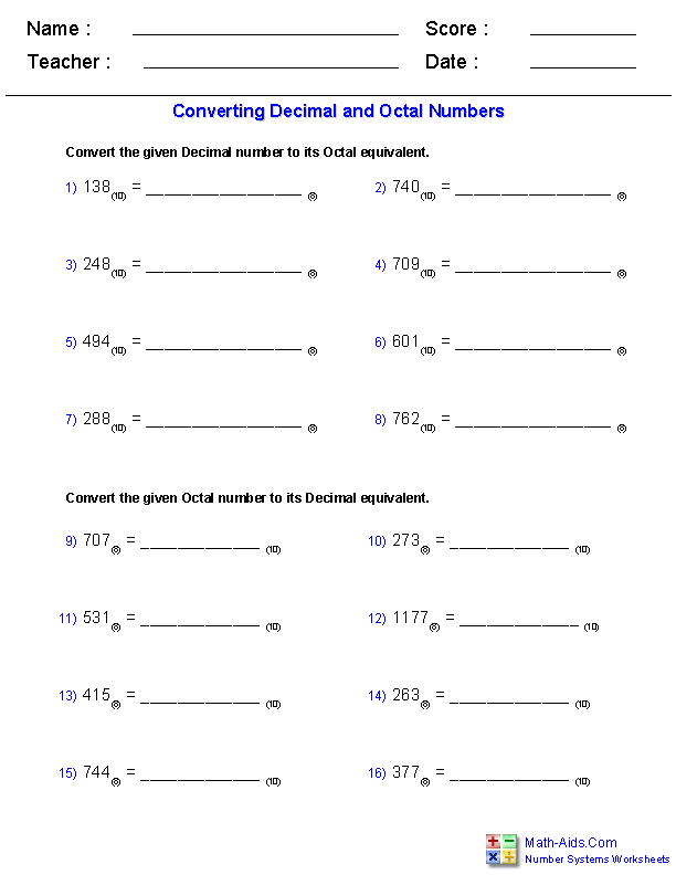 Decimal and Octal Worksheets