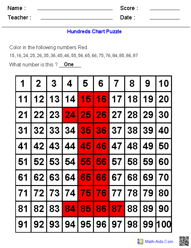 Hundreds Chart | Number Puzzles on Hundreds Chart