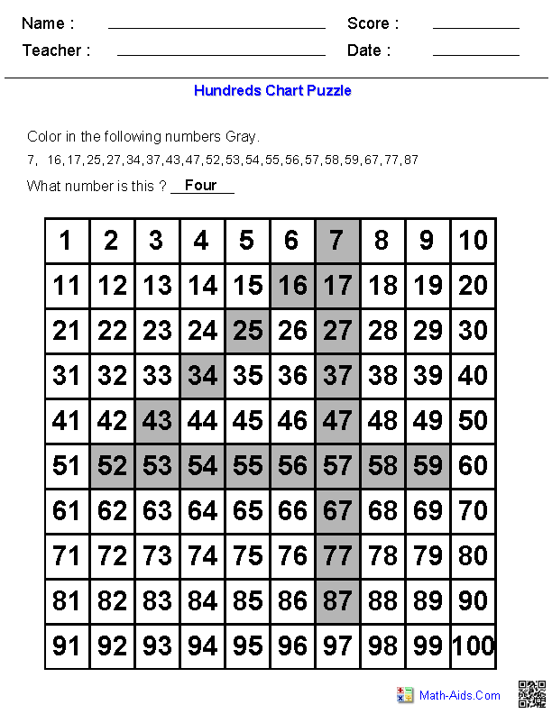 Hundreds Chart Number Puzzles On Hundreds Chart