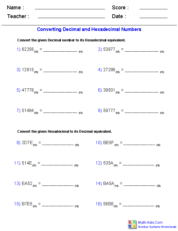 Number Systems Worksheets | Dynamically Created Number Systems Worksheets