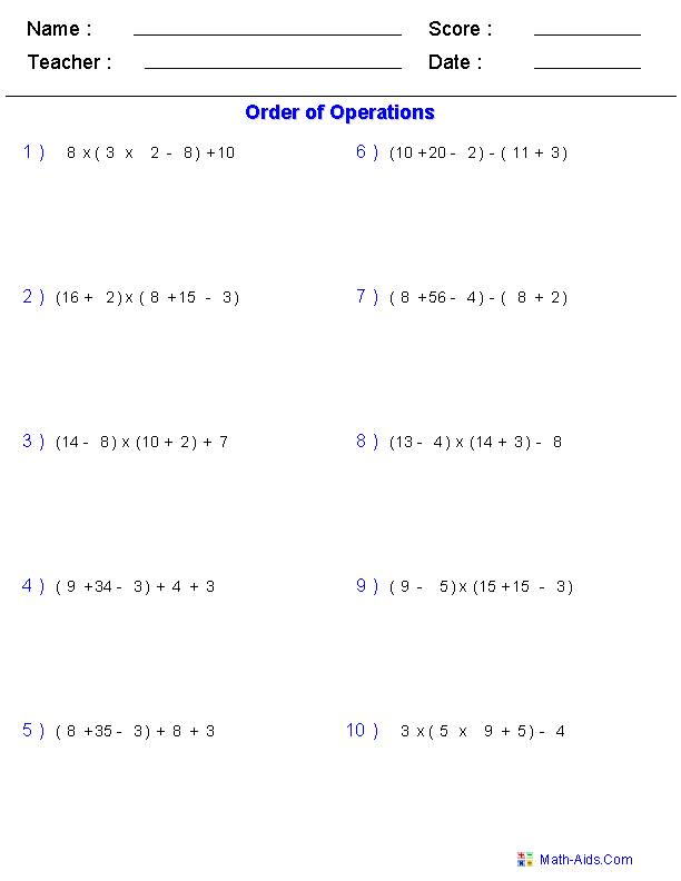 Order of Operations Worksheets – Grade 9 Math Worksheet