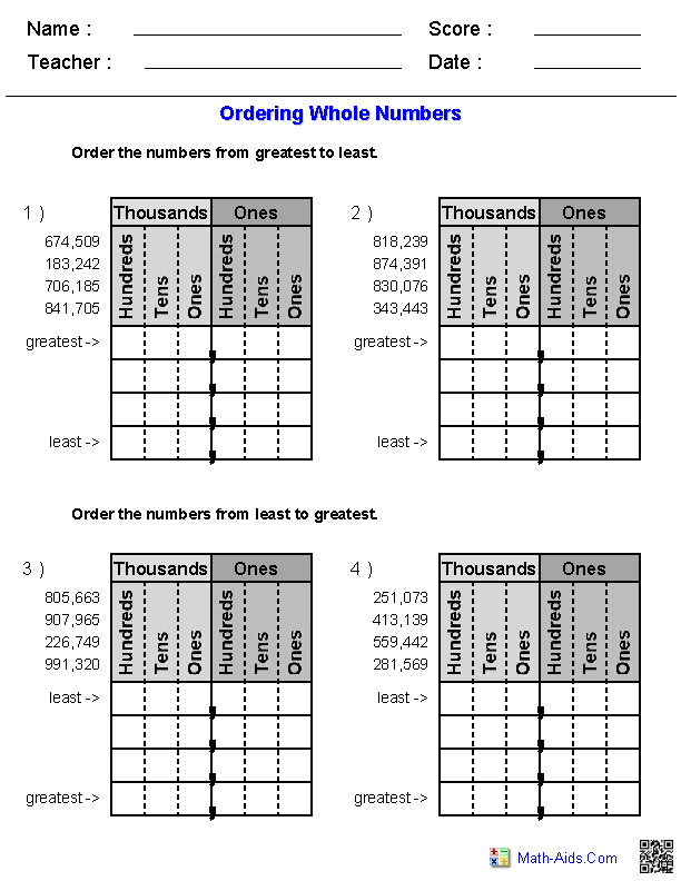 Ordering Whole Numbers Worksheets