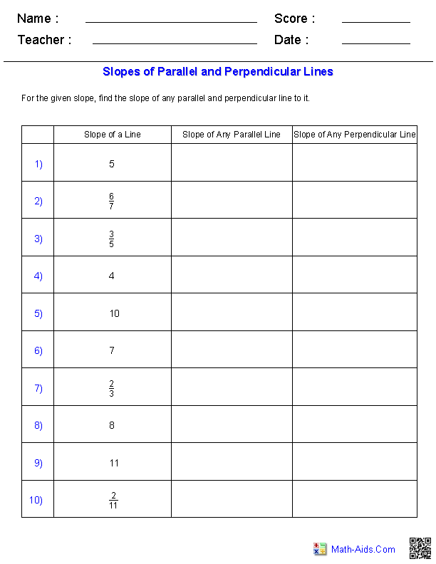 Given Slope of a Line Find Slopes for Parallel and Perpendicular Lines Worksheets
