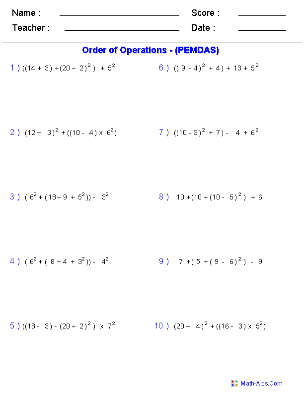 Order of Operations Worksheets  Order of Operations Worksheets