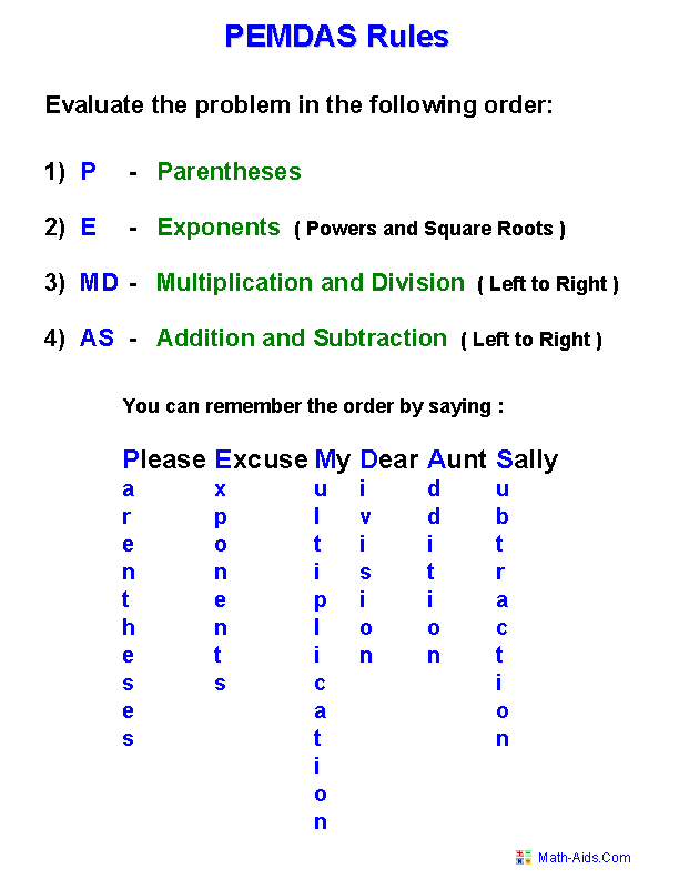 Printables Order Of Operations Worksheets 8th Grade order of operations worksheets pemdas rules handout