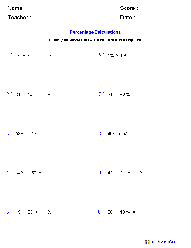 Percentage Calculations Worksheets