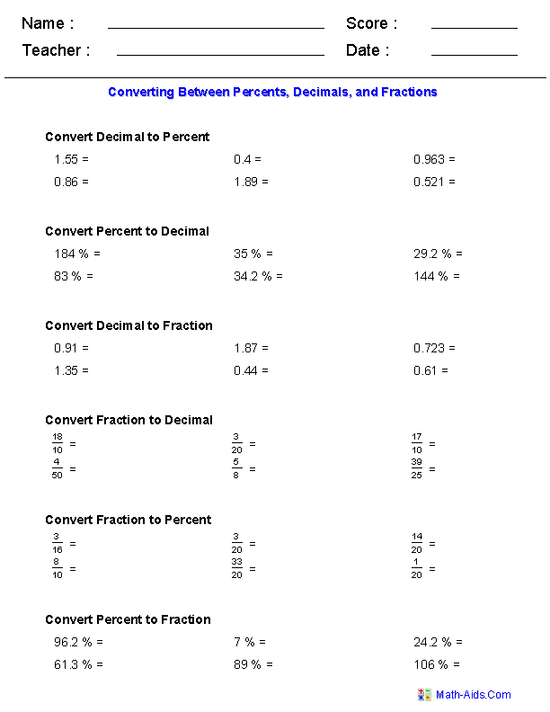Converting Between Percents, Decimals, and Fractions Worksheets