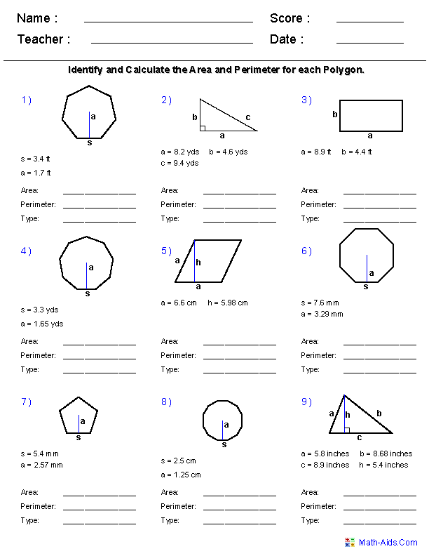 Area and Perimeter Using All Shapes Worksheets