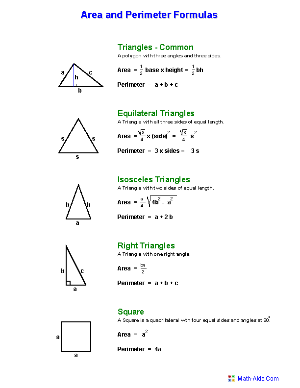 Area and Perimeter Formula Worksheets