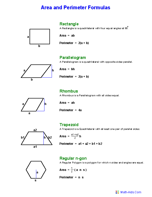 Area Formula Geometry worksheets area and perimeter worksheets