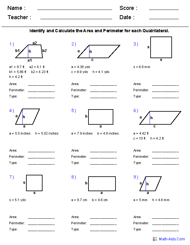 Area Of Parallelograms Worksheets 6th Grade: Geometry Worksheets   Area and Perimeter Worksheets,