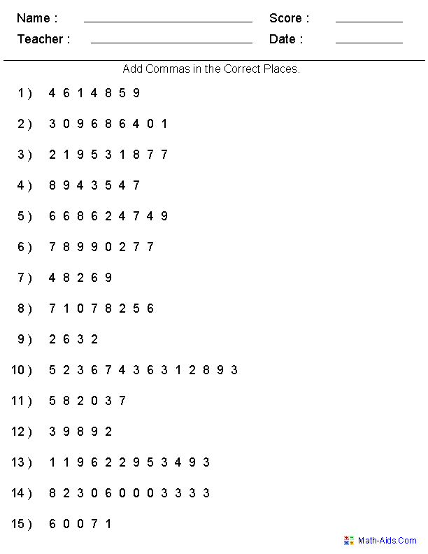 Worksheets Number And Place Value Grade 6 place value worksheets for practice worksheets