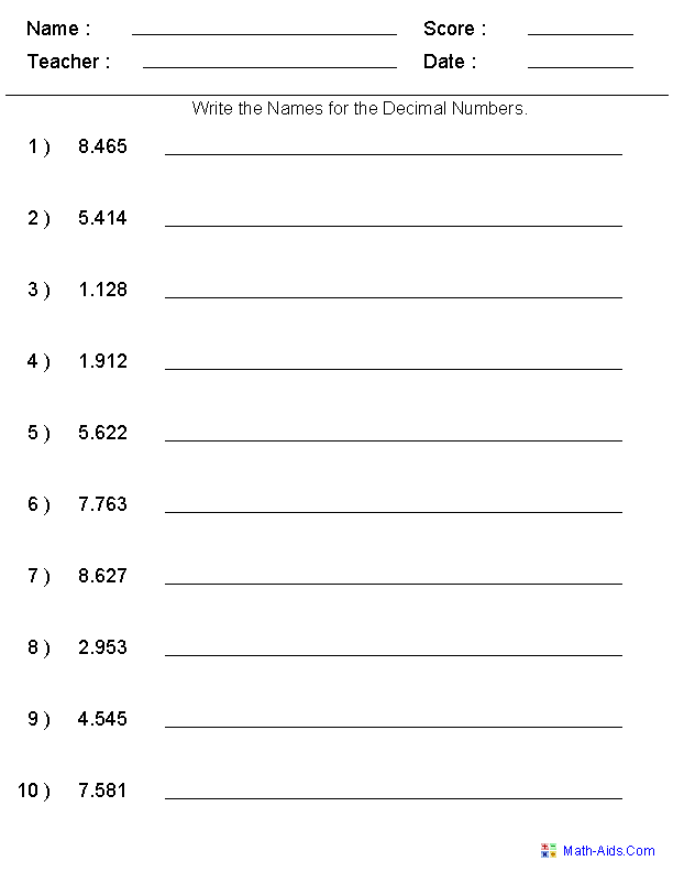 Place Value Worksheets – Reading and Writing Decimals Worksheet