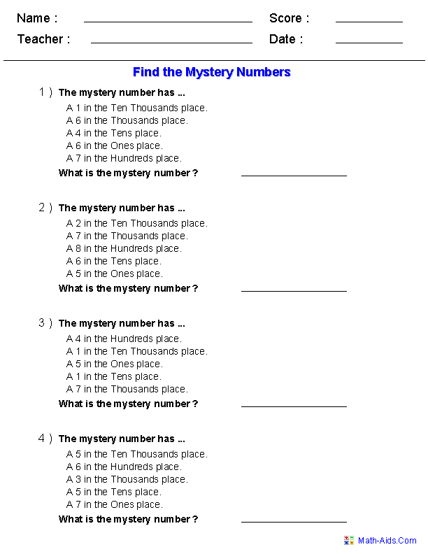 Find the Mystery Number Worksheets