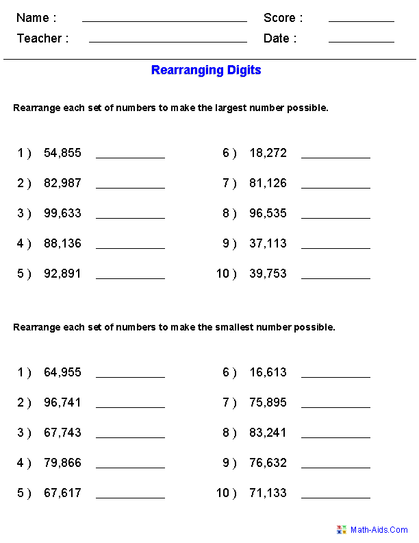 Printables 4th Grade Math Place Value Worksheets place value worksheets for practice rearranging the largest and smallest numbers worksheets