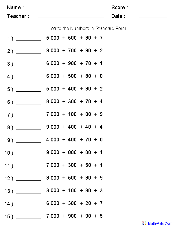 Standard Form Place Value Worksheets