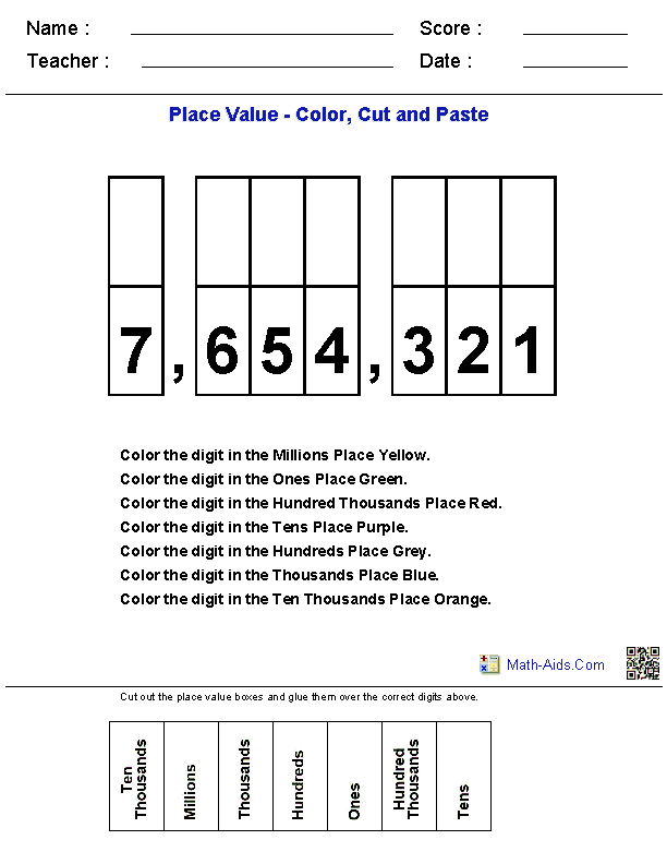 Place Value Kindergarten Worksheets
