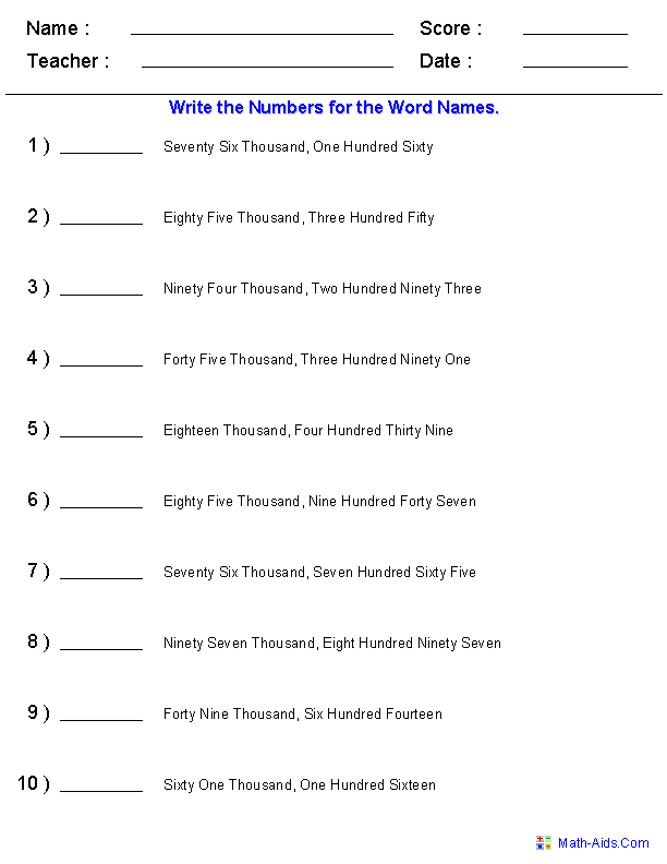 Place Value Worksheets – Number Words Worksheet