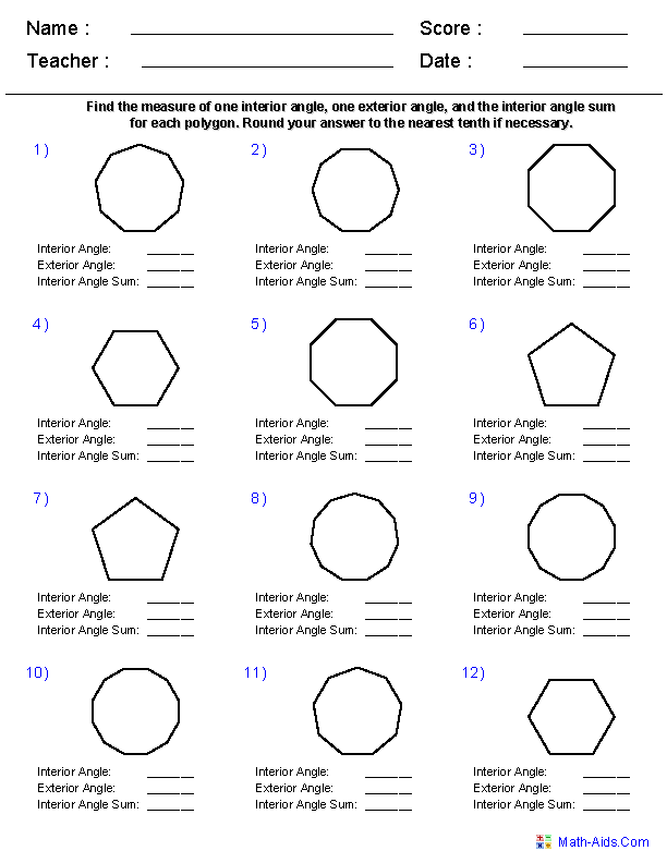 Worksheets Sum Of Interior Angles Worksheet geometry worksheets quadrilaterals and polygons angles of regular worksheets