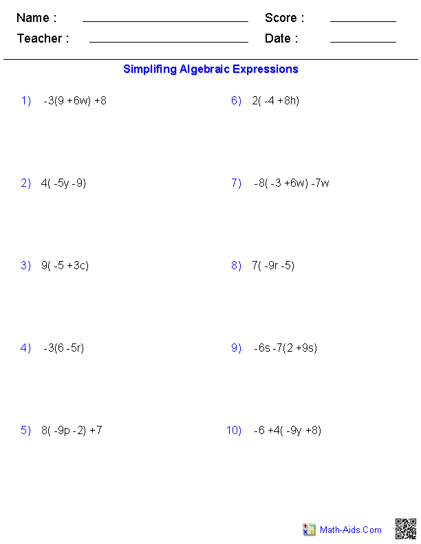 Printables Evaluating Algebraic Expressions Worksheets pre algebra worksheets algebraic expressions the distributive property worksheets