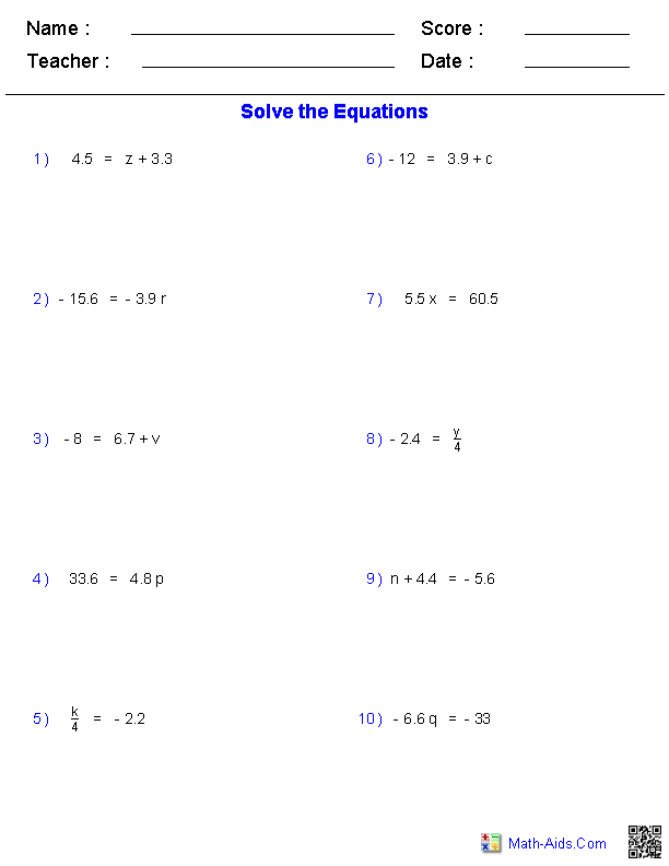 One Step Equations Worksheets Containing Decimals