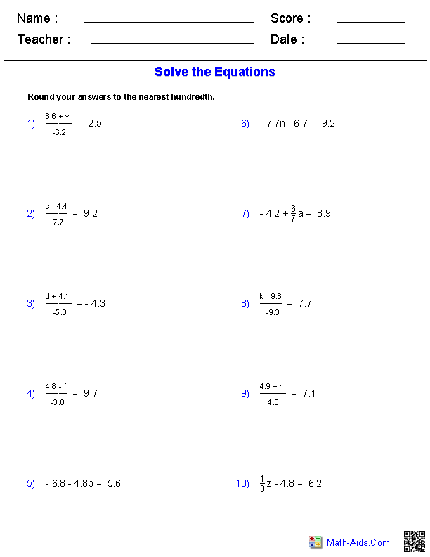 Algebra 1 Worksheets | Equations Worksheets