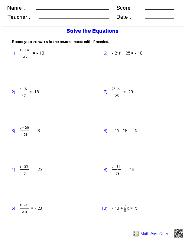 PreAlgebra Worksheets – One Step Equations Worksheets