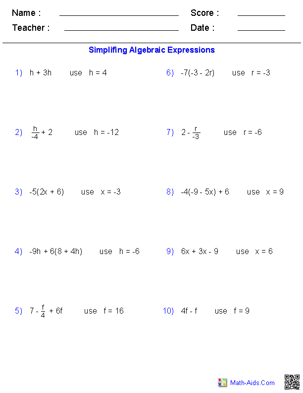 Printables Simplifying Algebraic Expressions Worksheet pre algebra worksheets algebraic expressions evaluating one variable worksheets