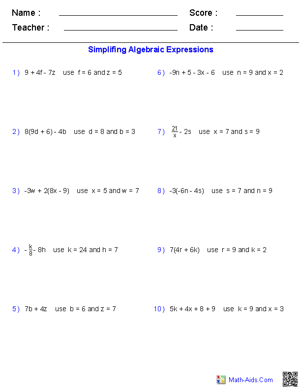 Algebraic expression worksheet with answer key