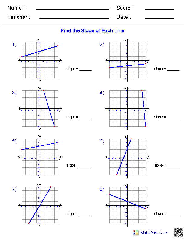 Worksheets 8th Grade Math Worksheets Algebra pre algebra worksheets linear functions finding slope from a graphed line