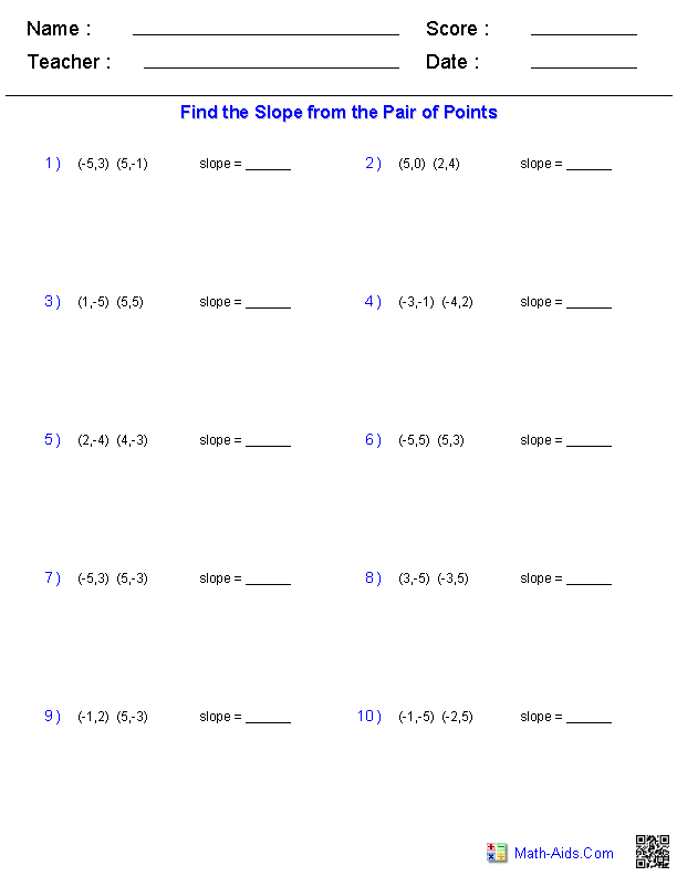 Worksheets Y Mx B Worksheet pre algebra worksheets linear functions finding slope from a pair of points