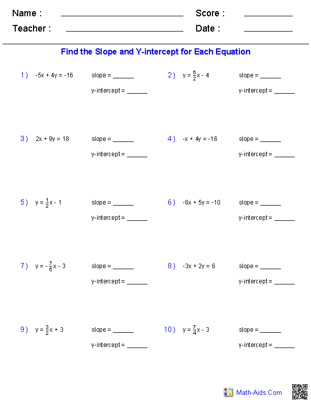 {Algebra 1 Worksheets – Equation of a Line Worksheet
